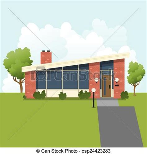 mid century home blueprint royalty free stock image vector of retro suburban house an illustration of a