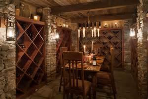 Rustic Wine Cellar With Exposed Beam Amp Built In Bookshelf
