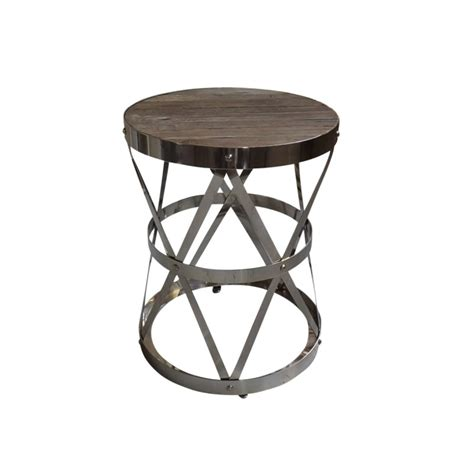 industrial accent table european design industrial accent table in reclaimed elm
