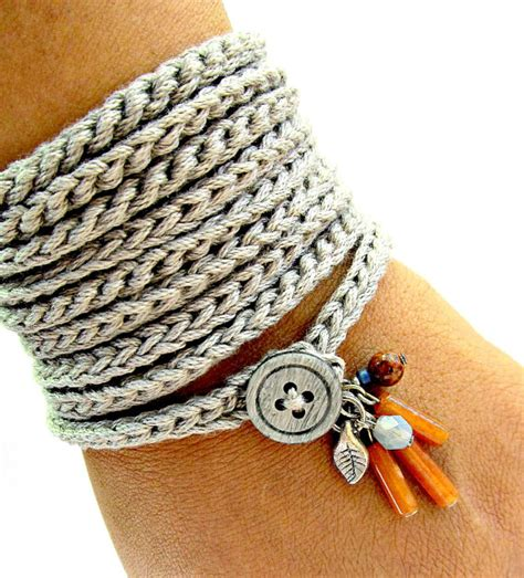 crochet pattern jewelry crochet bracelet with charms wrap bracelet silver grey