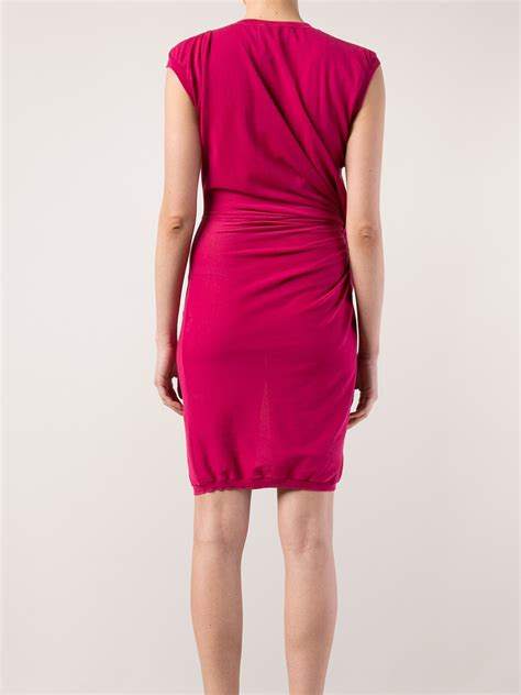 dress pattern gathered side lyst lanvin gathered side dress in pink