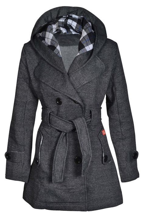 hooded fleece coat new womens hooded belted fleece button coat check