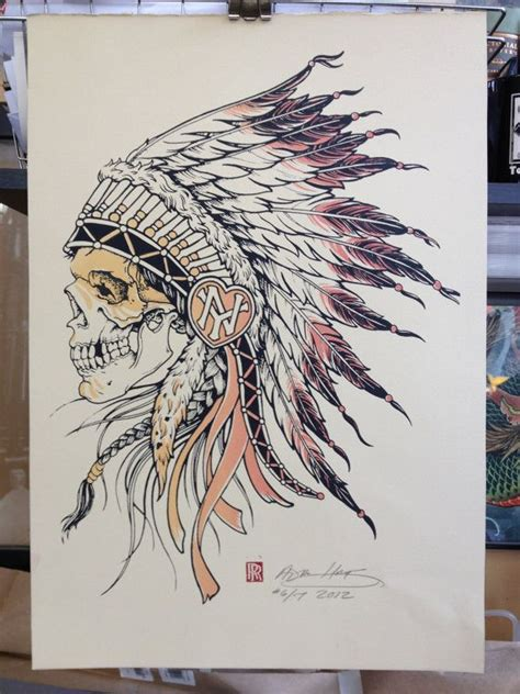 badass tattoos drawings indian chief skull with warpaint illustration