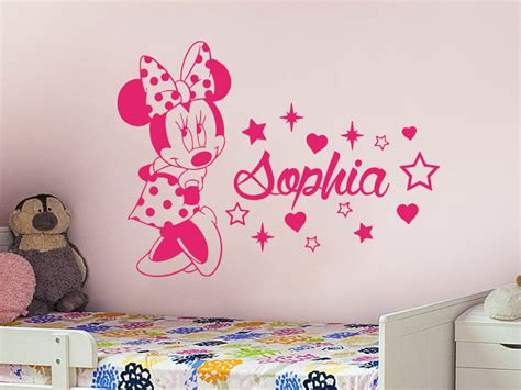 baby name wall stickers minnie mouse with custom personalized baby name vinyl wall sticker for baby bedroom