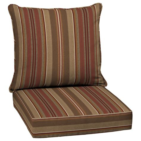 Shop Allen Roth Stripe Chili Deep Seat Patio Chair Patio Furniture Seat Cushions