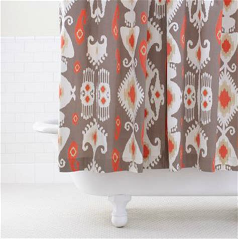 Coral And Grey Curtains Grey Coral Ikat Shower Curtain Contemporary Shower Curtains By Cost Plus World Market