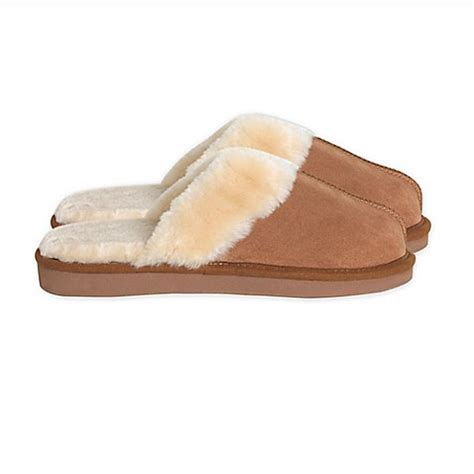 bed bath and beyond slippers catherine malandrino shearling slipper in chestnut bed
