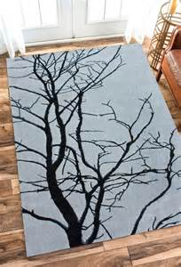 tufted wool carpet area rug 5x8 grey tree branches ebay
