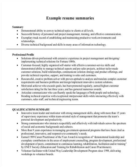 Exles Of Resume Summary by Writing Summary For Resume 28 Images Resume Experience