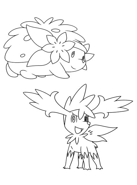 shaymin pokemon coloring pages images