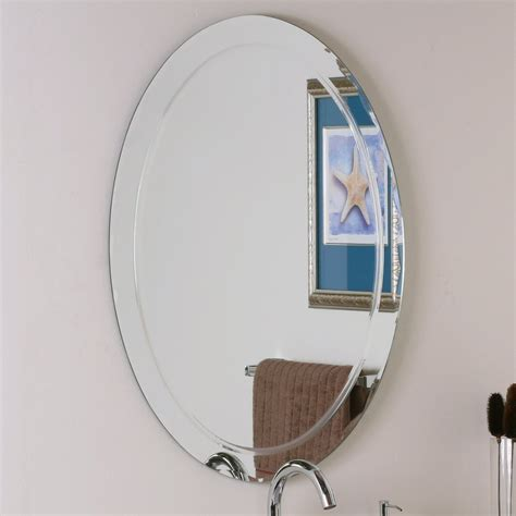 Frameless Beveled Mirrors For Bathroom Shop Decor 23 6 In W X 31 5 In H Oval Frameless Bathroom Mirror With Hardware And