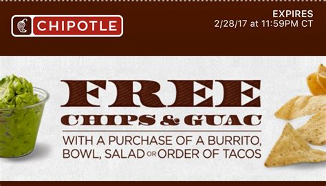 Gwp Alert 5 Size Freebies From The Shop by Freebie Alert Chipotle Chips Guac