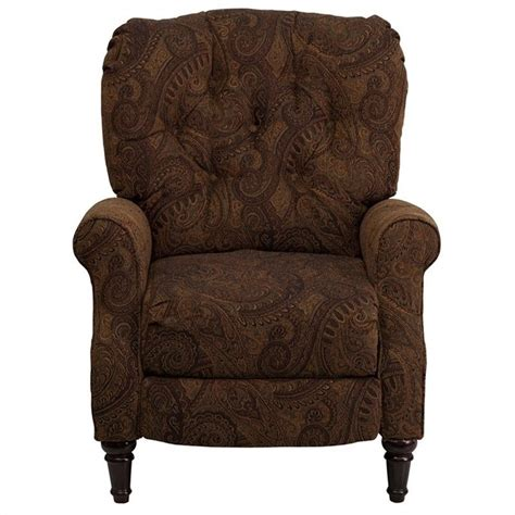 recliner chairs fabric upholstery traditional tufted leg recliner in tobacco am 2650 6370 gg