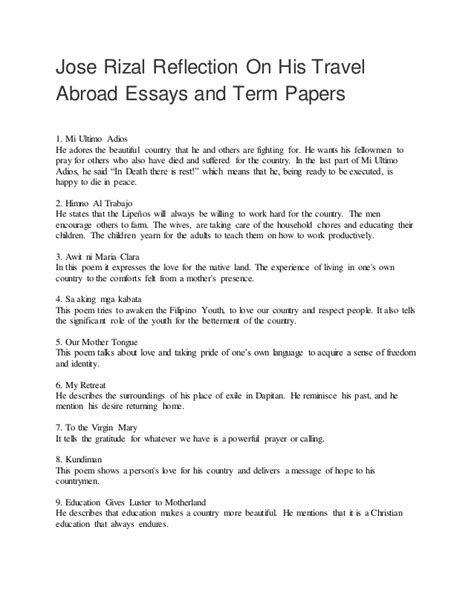 research paper about jose rizal essay by jose rizal