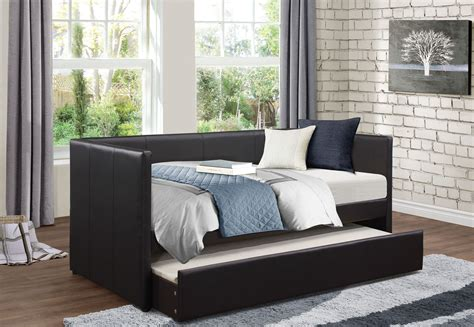 Black Daybed With Trundle Adra Black Daybed With Trundle From Homelegance Coleman Furniture