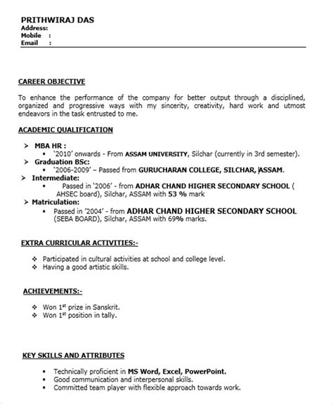 Resume Sle For Mba Fresher In Hr 30 Fresher Resume Templates Free Premium Templates