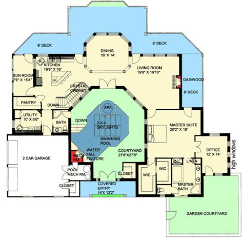Central Courtyard House Plans by Plan 35459gh Northwest Home With Indoor Central Courtyard