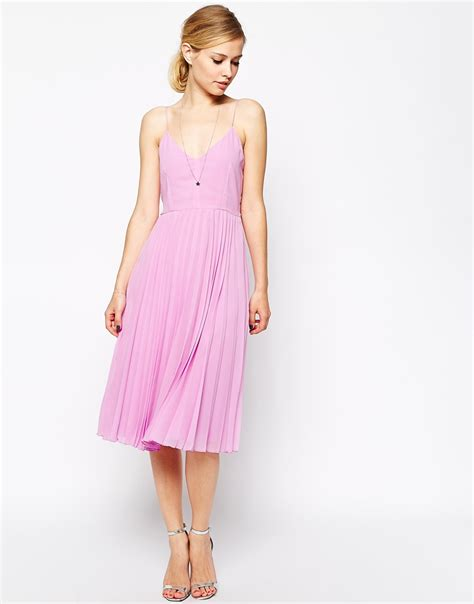 Dress Ghifa Pink 1 lyst asos cami pleated midi dress in pink
