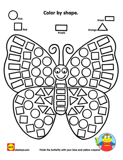 color by shape butterfly printable alexbrands com