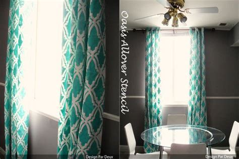 bright teal curtains bright teal oasis allover stenciled curtains