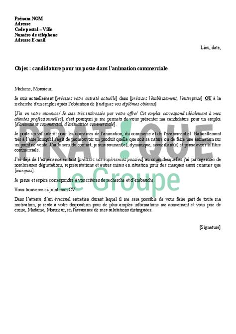 Lettre De Motivation Vendeuse Parfumerie Sans Expérience Lettre De Motivation Pour Le M 233 Tier D Animateur Commercial Pratique Fr