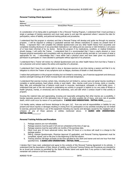 personal training contract agreement it resume cover