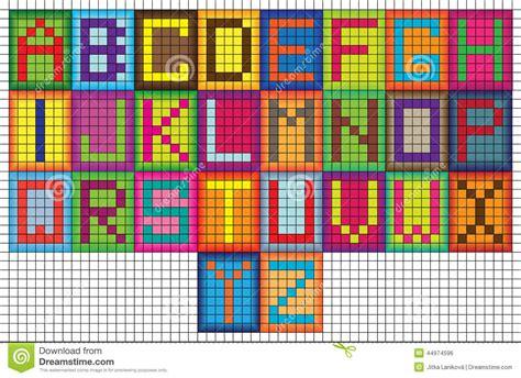 grid pattern mosaic bright mosaic tiles alphabet letters stock illustration