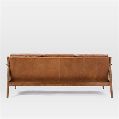 leather sofa wooden frame mathias mid century wood frame leather sofa 82 5 quot west elm