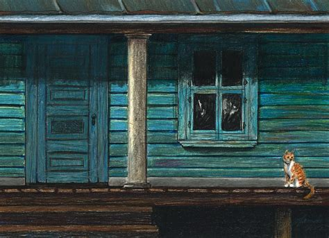 cat on the porch drawing by j ferwerda