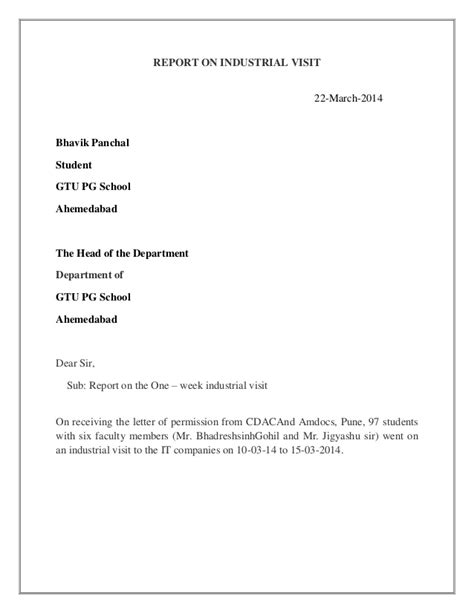 Acknowledgement Letter Format For Industrial Visit Industrial Visit Report