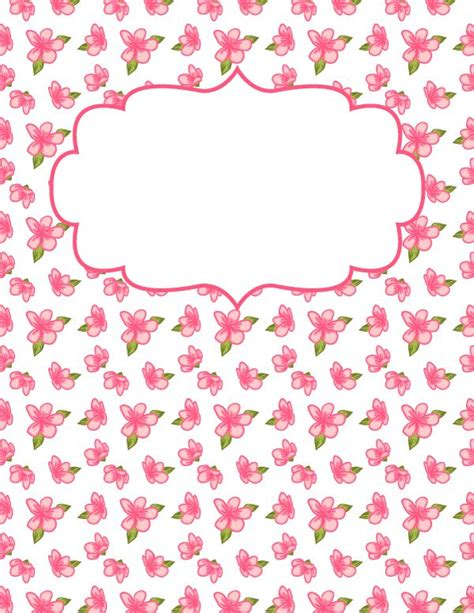 printable pink flowers free printable pink flower binder cover template download