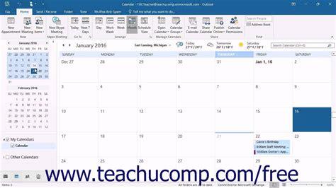 Outlook Calendar Tutorial Outlook 2016 Tutorial Navigating The Calendar Microsoft