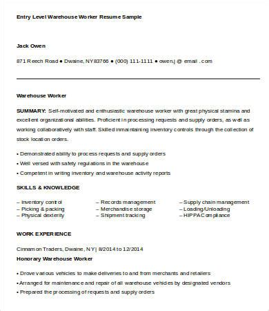 Warehouse Worker Resume by Warehouse Worker Resume 7 Free Sle Exle Format