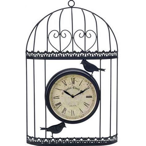 Bird Cage Wall Clock verdigris bird cage design garden clock black 35cm high on sale