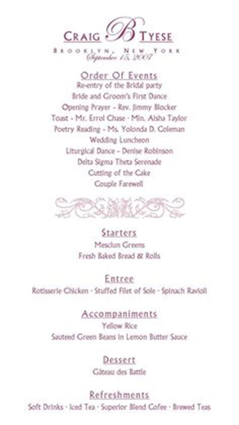 sample wedding reception program   Ceremony   Pinterest