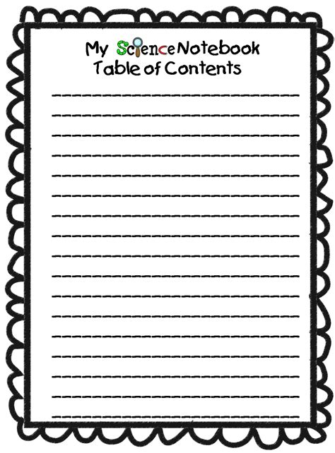 Science Notebook Table Of Contents Template grade wow science notebook
