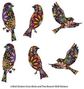 bird stickers in lovely flower pattern set of 6 bird