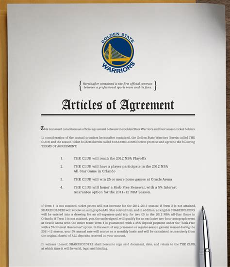 football contract template new warrior owners offer fans a contract probasketballtalk