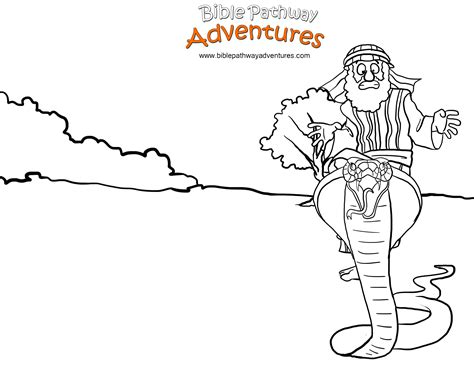 free bible coloring page moses and the snake mount sinai