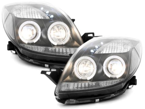 Lu Hid Yaris headlights toyota yaris 06 2 halo rims black