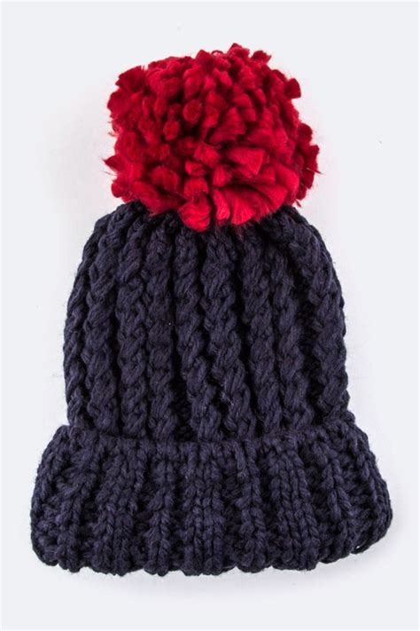 Pom Pom Chunky Beanie chunky knit beanie with contrast pom pom