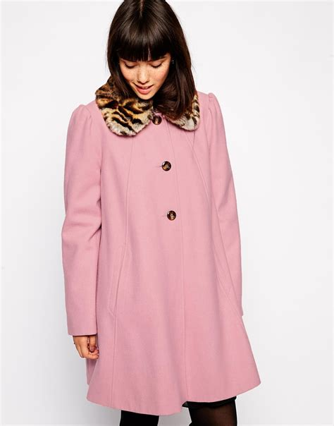 Swing Coat by Lyst Asos Swing Coat With Contrast Faux Fur Collar In Pink