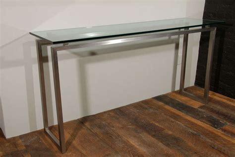 Brushed Metal Console Table With Glass Top At 1stdibs Glass Top Sofa Table Metal