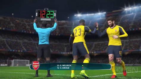 arsenal pes 2017 11 minutes of pes 2017 gameplay barcelona vs arsenal