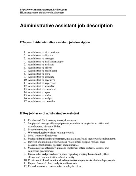 Assistant Description Resume by Doc 596842 Executive Assistant Resume Exle Sle Description Bizdoska