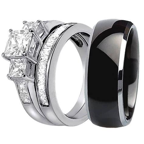Set Titanium 8 15 best collection of black titanium wedding bands sets
