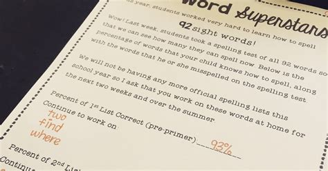 Parent Letter Explaining Sight Words Firstie Favorites Communicating Progress To Parents Sight Word Note