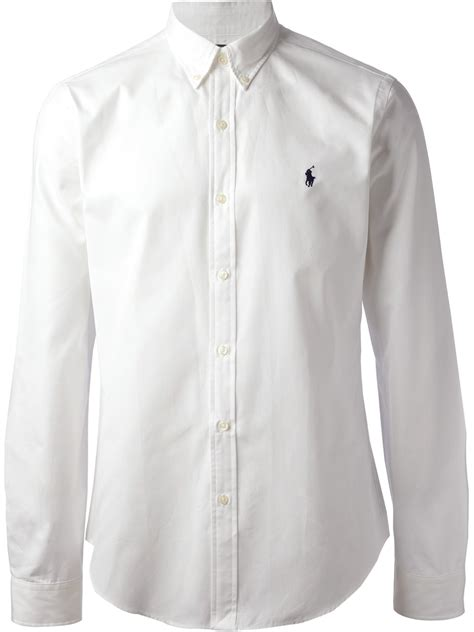 Polo Longsleeves Shirt lyst polo ralph sleeve shirt in white for