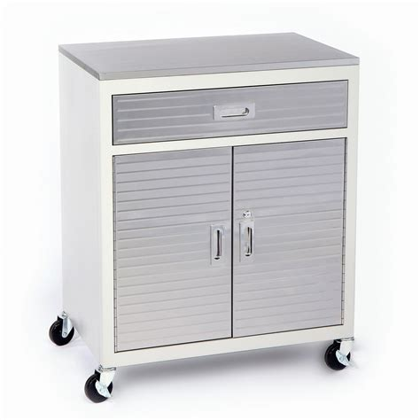 Square White Metal Garage Storage Cabinet On Wheels With Metal Cabinets For Garage Storage