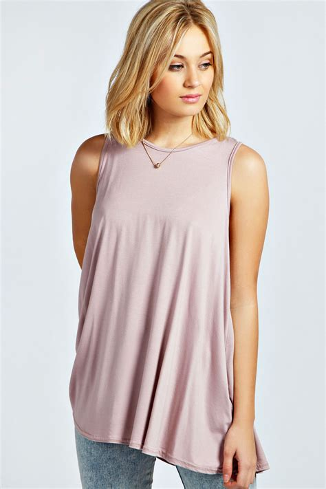 swing top shirt boohoo womens ladies olivia sleeveless round neck swing